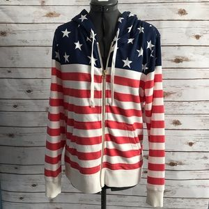 Old Navy Stars and Stripes zip front hoodie NWT